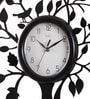 Black MDF 16 Inch Round Tree & Sparrow Aesthetic Look Wall Clock by Safal Quartz