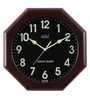 Brown MDF 12 x 2 x 12 Inch Safal Octagonal Night Glow Beauty Wall Clock by Safal Quartz