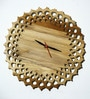 Divine Decor Brown Teak Wood 11 x 0.3 x 11 Inch Wall Clock