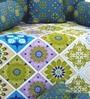 Blue Cotton Diwan Set - Set of 8 by Salona Bichona