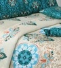Salona Bichona Gray & Turquoise Double Bed Sheet Set