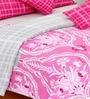 Salona Bichona Pink Checked & Floral Double Bed Sheet Set