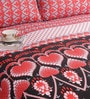 Salona Bichona Black & Red Cotton Floral Bed Sheet Set (with Pillow Covers)