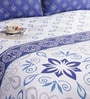 Salona Bichona Blue 100% Cotton Queen Size Bedsheet - Set of 3