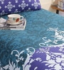 Salona Bichona Blue Cotton 86 x 60 Inch Double Bed Sheet (with Pillow Cover)