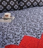 Salona Bichona Blue Cotton Abstract 98 x 86 Inch Double Bed Sheet (with Pillow Covers)