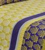 Salona Bichona Yellow Cotton Stripes & Checks Bed Sheet Set (with Pillow Cover)