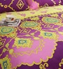 Salona Bichona Purple Cotton Floral 98 x 86 Inch Double Bed Sheet (with Pillow Covers)