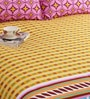 Salona Bichona Purple Cotton Geometric Bed Sheet Set (with Pillow Covers)