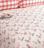 Salona Bichona Red Cotton Floral 98 x 86 Inch Bed Sheet Set (with Pillow Covers)
