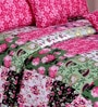 Salona Bichona Pink Satin Floral Double Bed Sheet Set (with Pillow Covers)