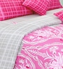 Salona Bichona Pink Satin Abstract King Size Bed Sheet Set (with Pillow Covers)