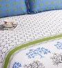 White & Blue Double Bed Sheet Set by Salona Bichona