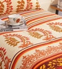 Salona Bichona Yellow Cotton 86 x 60 Inch Single Bed Sheet (with Pillow Cover)