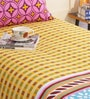 Salona Bichona Yellow Cotton 86 x 60 Inch Single Bed Sheet (with Single Pillow Cover)