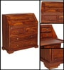 Beatrice Study Table cum Chest of Drawers in Honey Oak Finish by Amberville