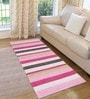 Saral Home Grey & Pink Cotton 72 x 28 Inch Premium Quality Multi Purpose Rug - Set of 2