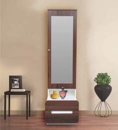 Genial Scion Dressing Table With Hidden Mirror Storage In White Lily U0026 Walnut  Finish