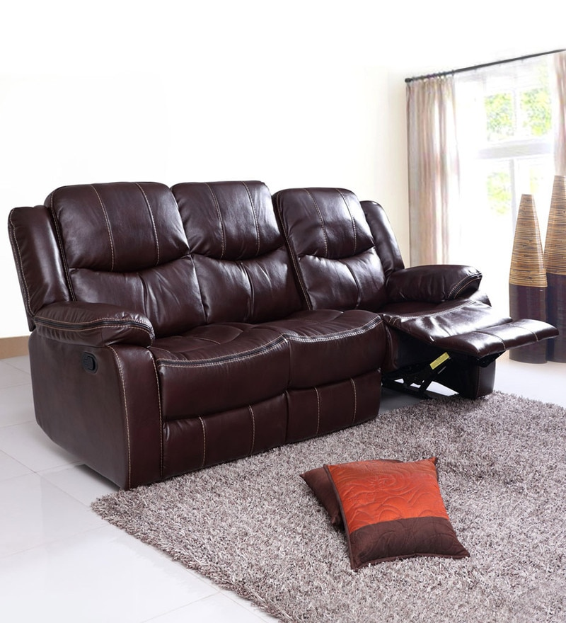 Scotland Three Seater Recliner Sofa in Brown Leatherette by Evok