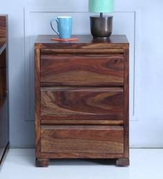 Segur Bed Side Table With Three Drawers In Provincial Teak Finish