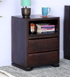 Segur Bed Side Table With Two Drawers In Warm Chestnut Finish