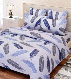 Essentials Abstract Pattern 144TC Cotton Queen Size Bed Sheet With 2 Pillow  Covers ...