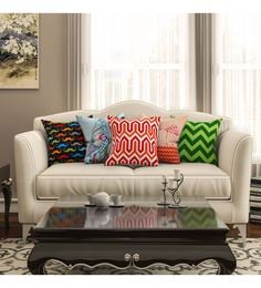 SEJ By Nisha Gupta Multicolour Cotton 16 X 16 Inch Abstract Hd Digital Cushion Cover - Set Of 5 - 1612515