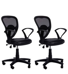 office chair images. Low Back Ergonomic Chair (Set Of 2) In Black Colour Office Chair Images