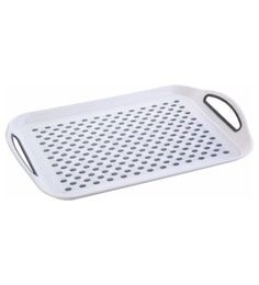 Seven Seas Rectangle Plastic White Big Tray With Handle