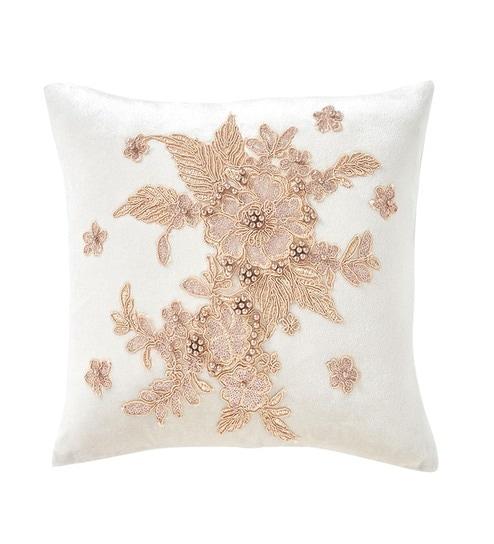 Fl Satin Beige Cushion Covers