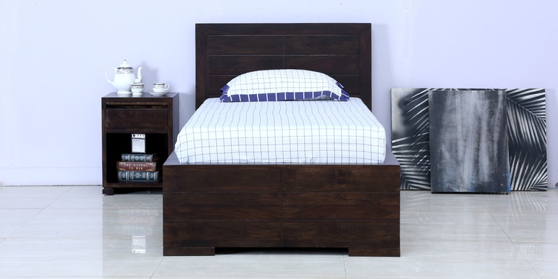 Segur Solidwood Single Bed with Drawer Storage in Warm Chestnut Finish by Woodsworth