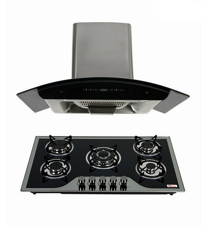 Seavy Prime 90 Cm Auto Clean Hood Chimney & 5 Burners Hob