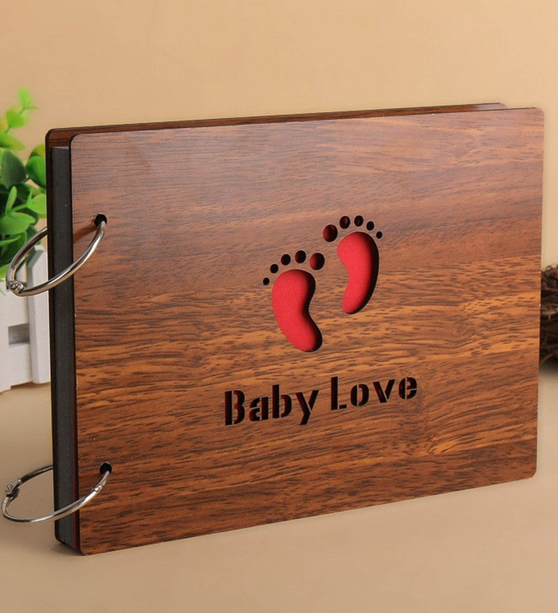 Brown Wood 10 x 4 x 6 Inch Baby Love Pasted Scrap Book Photo Album by Sehaz Artworks