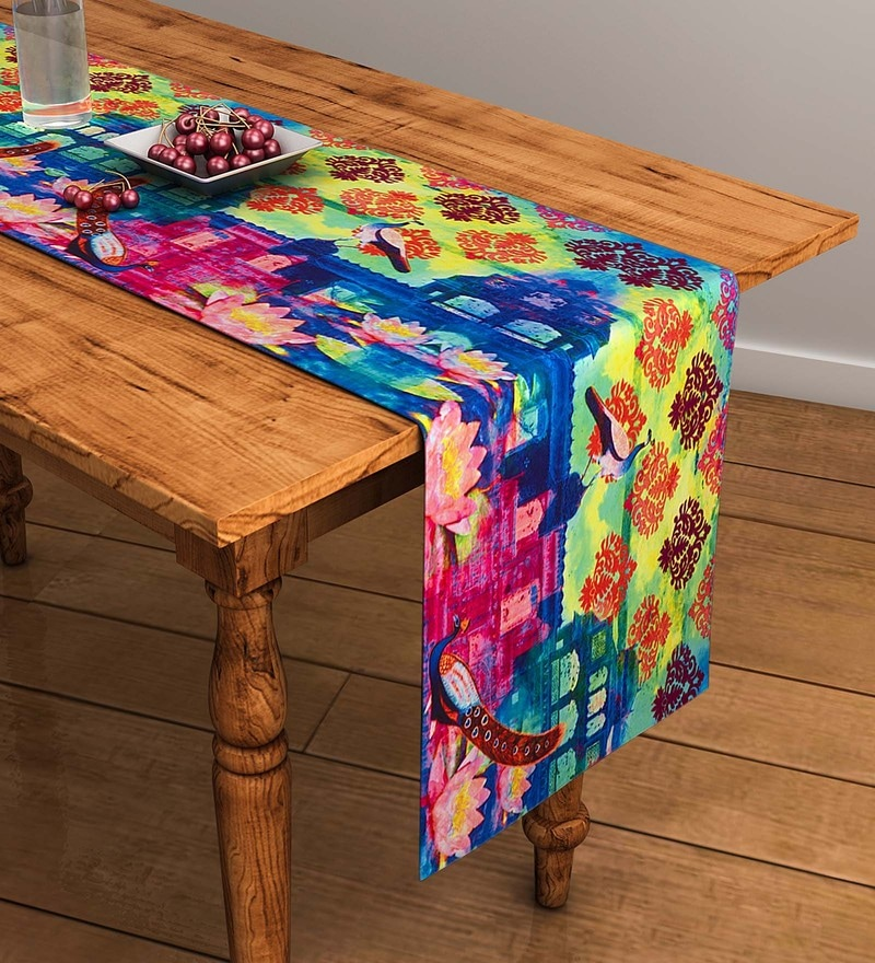 SEJ by Nisha Gupta Abstract Multicolour Cotton Table Runner