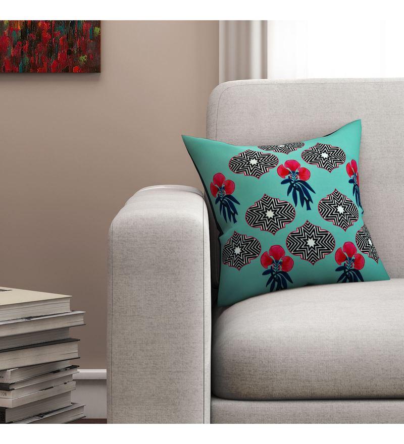 Sej By Nisha Gupta Multicolour Cotton 16 x 16 Inch Floral HD Digital Cushion Cover