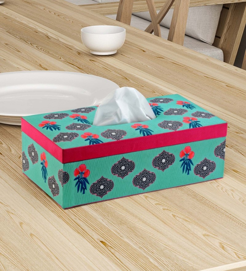 SEJ by Nisha Gupta Floral Blue Mdf Wood Napkins & Tissues Holder