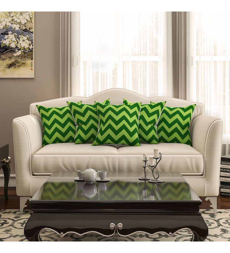 SEJ By Nisha Gupta Green Cotton 16 x 16 Inch Geometrical Hd Digital Cushion Cover - Set of 5