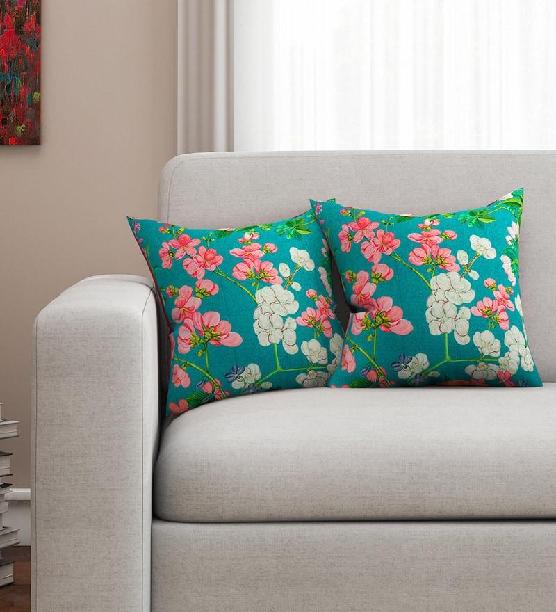 Green Cotton 16 x 16 Inch HD Digital Premium Floral Cushion Covers - Set of 2 by SEJ By Nisha Gupta