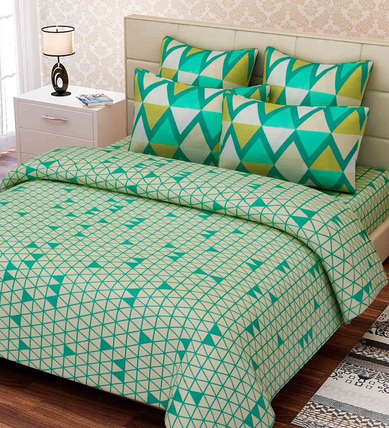 Green Cotton 88 x 108 Inch Geometric King Bed Sheet Set by SEJ By Nisha Gupta