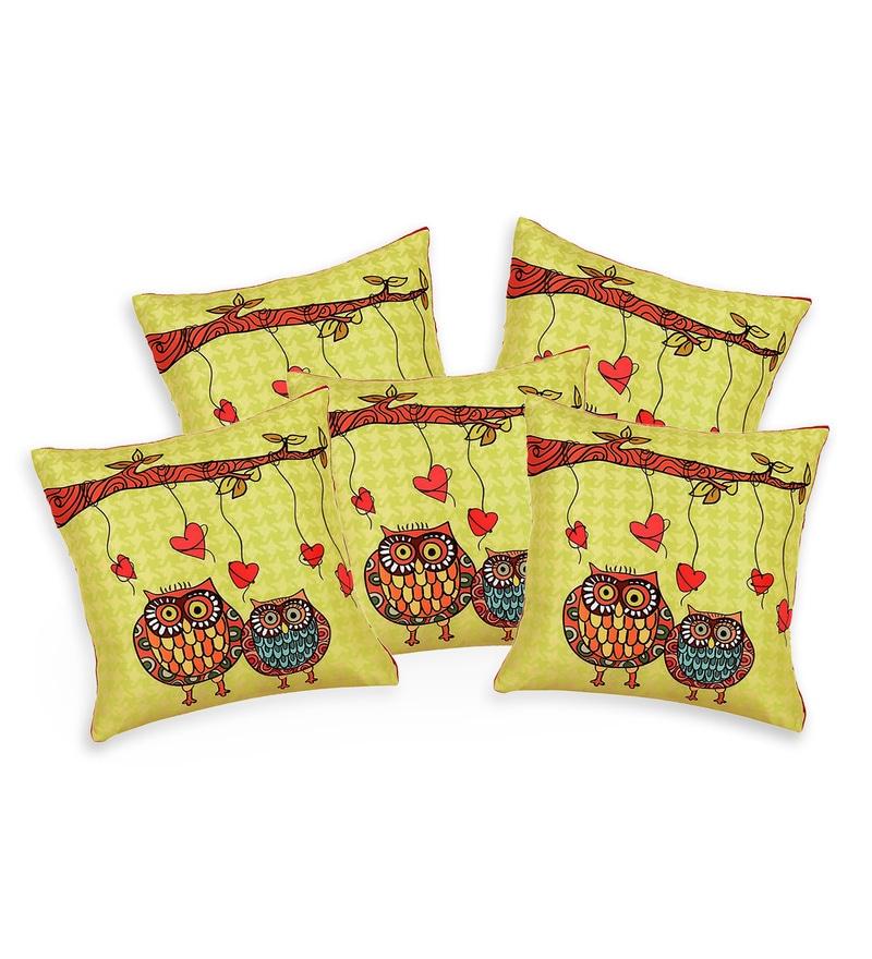 Green Silk 16 x 16 Inch Owls HD Print Cushion Covers - Set of 5 by SEJ By Nisha Gupta