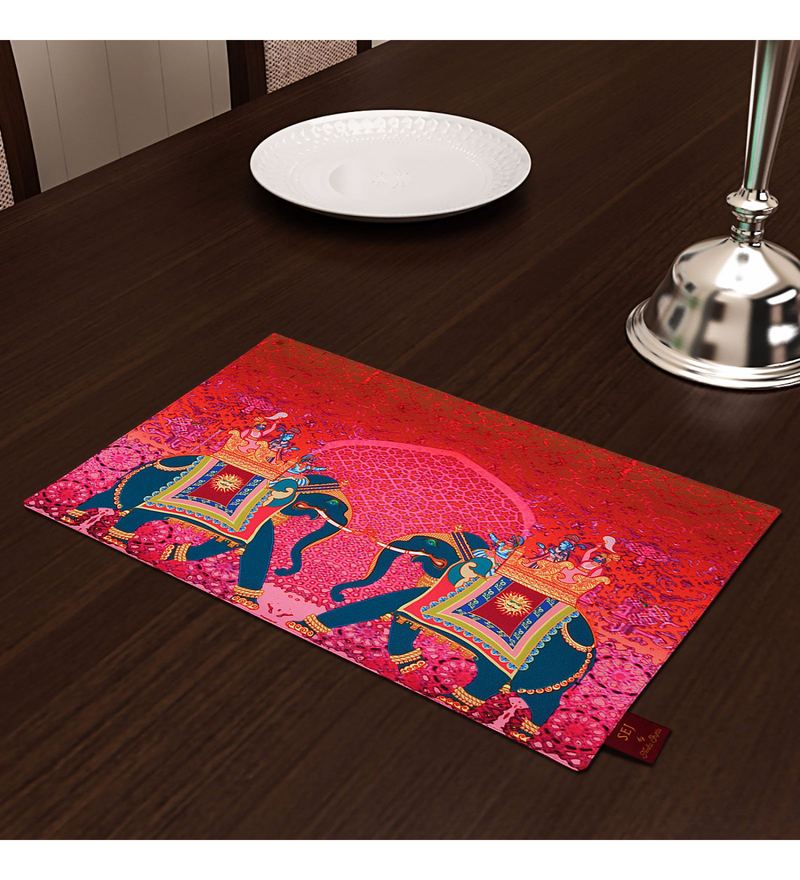SEJ by Nisha Gupta High Definition Premium Orange Cotton Table  Placemats-Set Of 6
