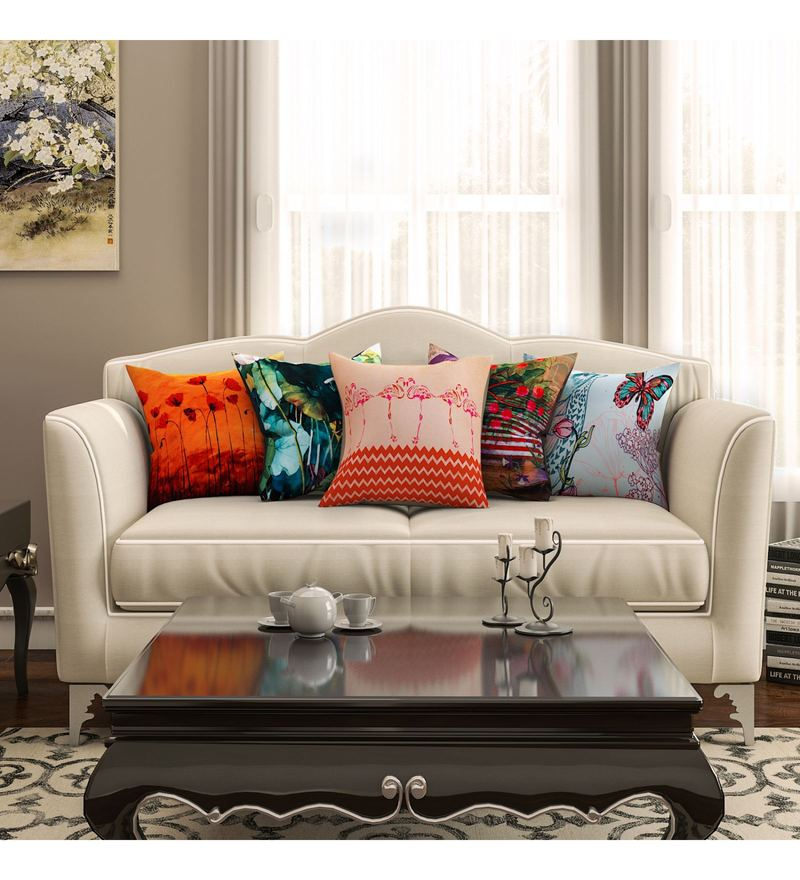 SEJ By Nisha Gupta Multicolour Cotton 16 x 16 Inch Abstract Hd Digital Cushion Cover - Set of 5