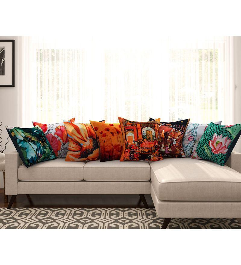 SEJ By Nisha Gupta Multicolour Cotton 16 x 16 Inch Abstract Hd Digital Cushion Cover - Set of 8
