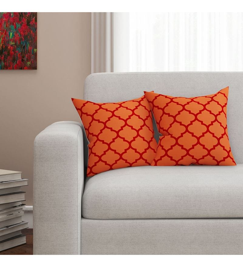 SEJ By Nisha Gupta Orange Cotton 16 x 16 Inch Geometrical Hd Digital Cushion Cover - Set of 2