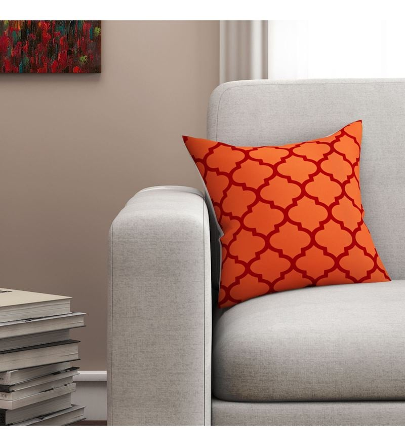 SEJ By Nisha Gupta Orange Cotton 16 x 16 Inch Geometrical Hd Digital Cushion Cover
