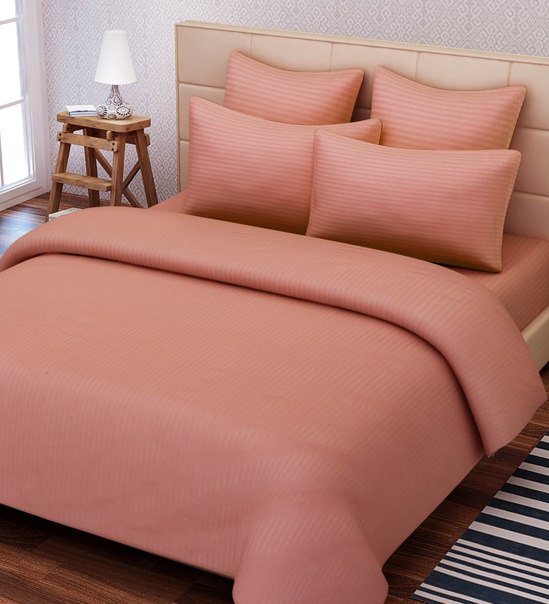 Pink Cotton 108 x 108 Inch Solid Stripe King Bed Sheet Set by SEJ By Nisha Gupta