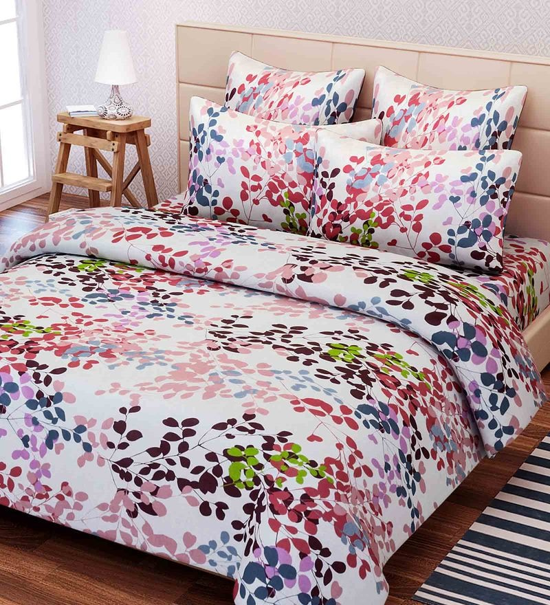 Pink Cotton 88 x 100 Inch Floral Queen Bed Sheet Set by SEJ By Nisha Gupta