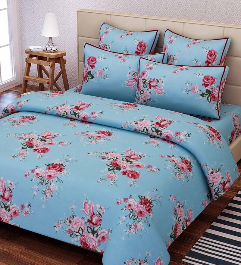Blue Cotton 88 x 108 Inch Floral Queen Bed Sheet Set by SEJ By Nisha Gupta