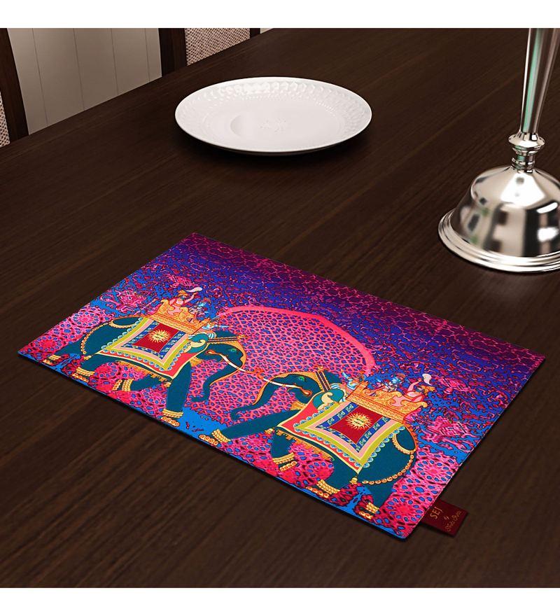 SEJ by Nisha Gupta Purple High Definition Premium Cotton Table  Placemats-Set Of 4