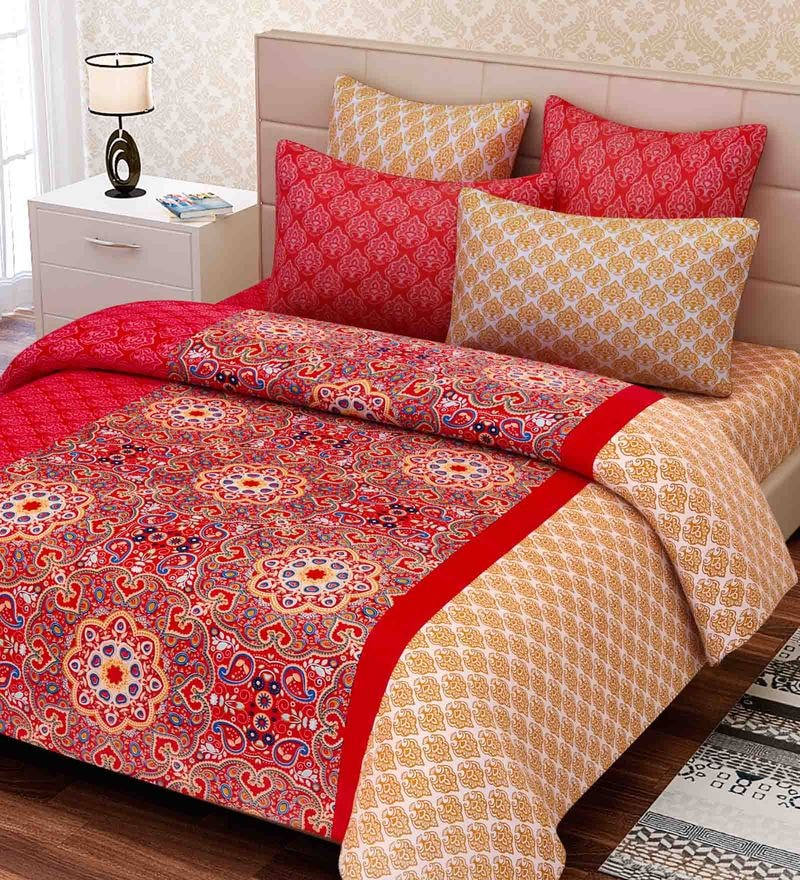 Red Cotton 88 x 108 Inch Indian Ethnic King Bed Sheet Set by SEJ By Nisha Gupta